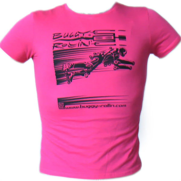 strawberry pink T-Shirt printed with buggy rollin flying pilot