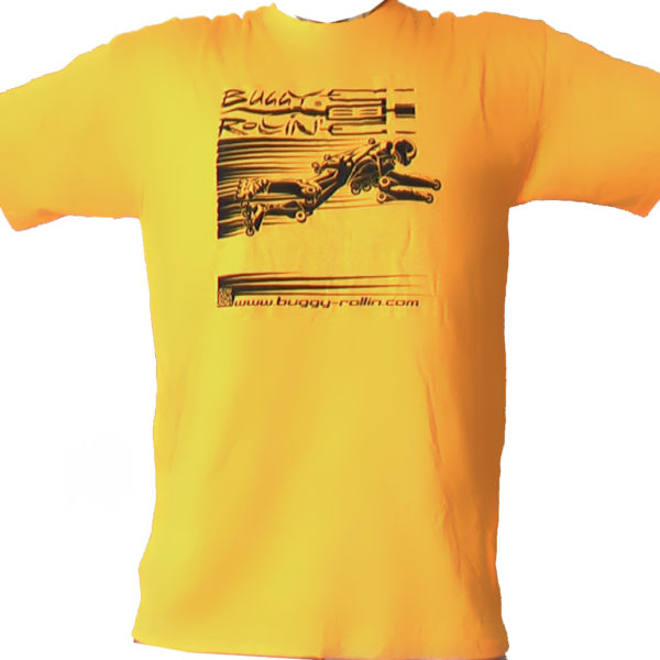 sun yellow T-Shirt printed with buggy rollin flying pilot