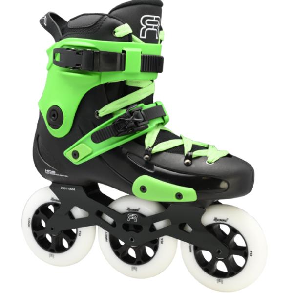 custom black green skate fr1 with 3 110 mm wheels 3D frames