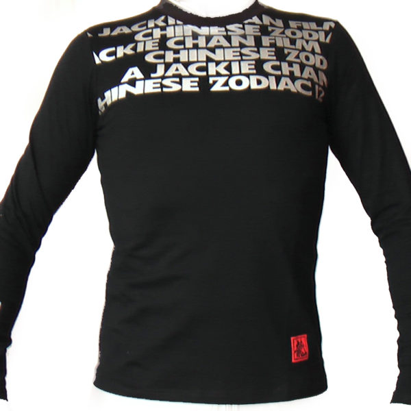 long sleeve black slim T-shirt, front side, printed jackie chan chinese zodiac in silver near the shoulder