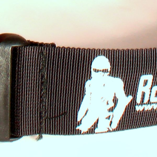 detail of the graphic design of rollerman printed on belt