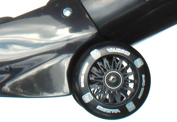 Detail view of the black wheel of elbow of Black-Black Buggy Rollin Full set