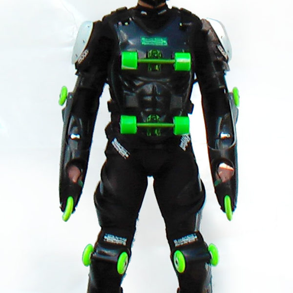 Black-green buggy rollin suit worn by pilot standing frontward with black buggy rollin special helmet