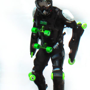Black-green buggy rollin suit worn by pilot step forward with black buggy rollin special helmet