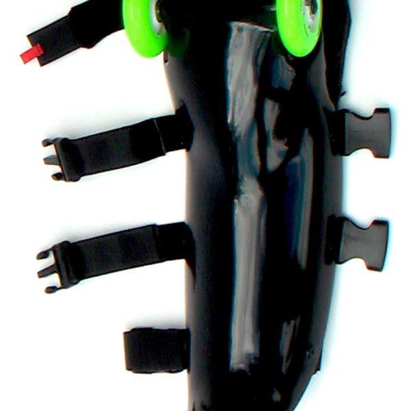 black buggy rollin leg with green wheels