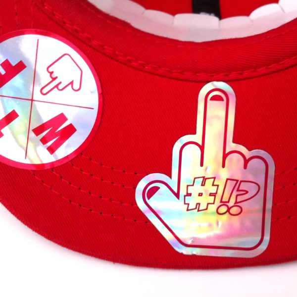 finger under the red WTF rollerman cap