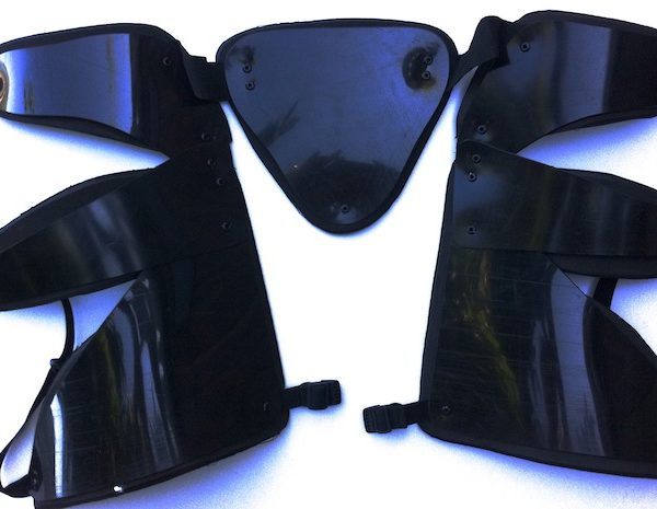 black articulated protection for hip