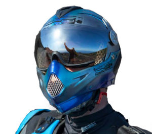 silver-blue helmet with reflection in visor
