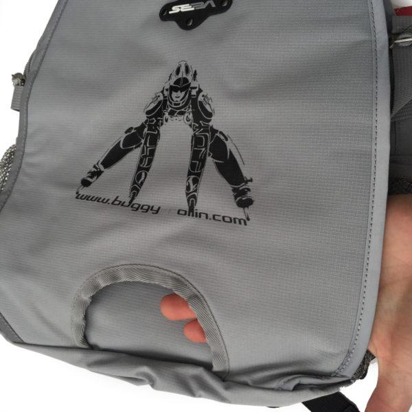 grey seba skate bag show the hollow for holding the wheels of skates