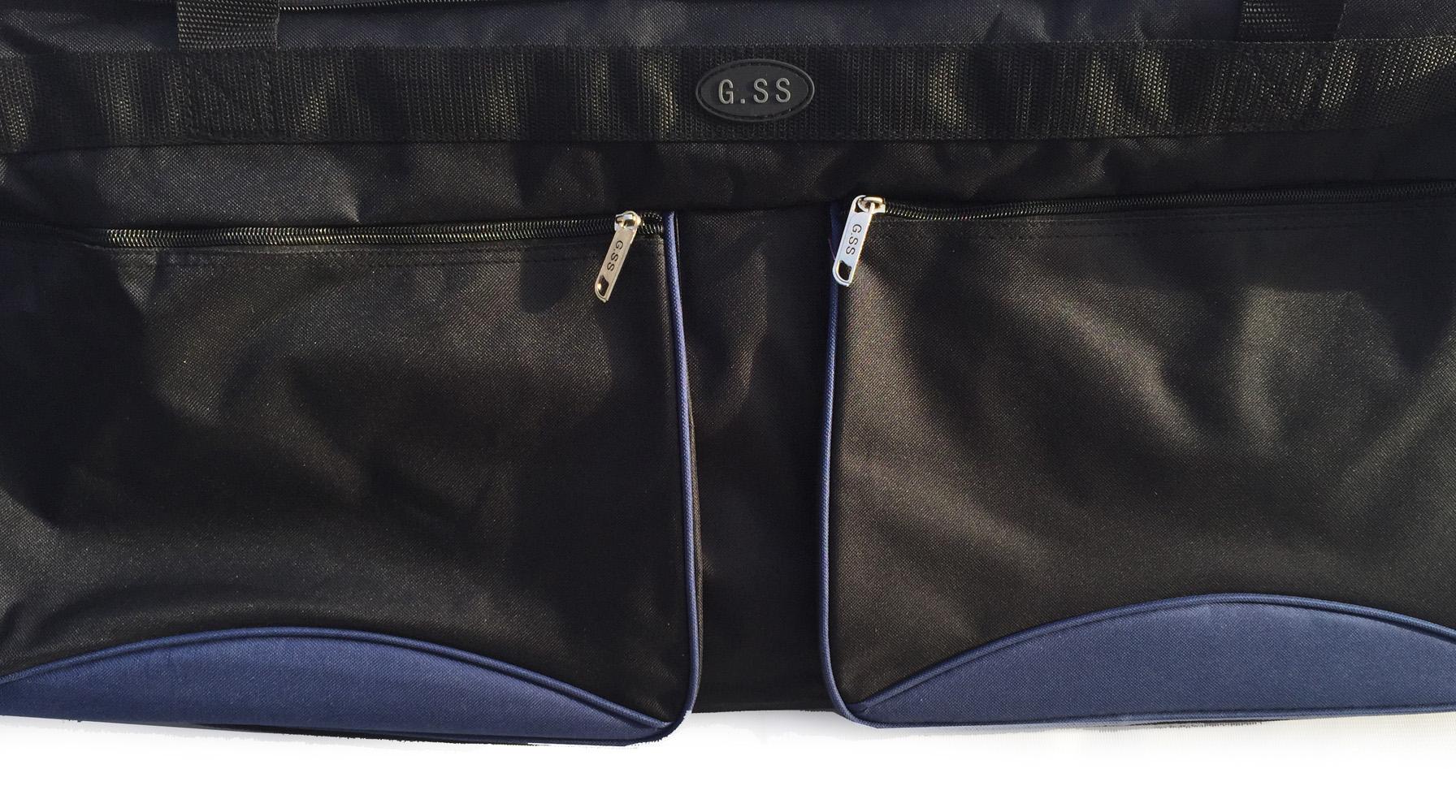 double pocket on the side of big blue bag