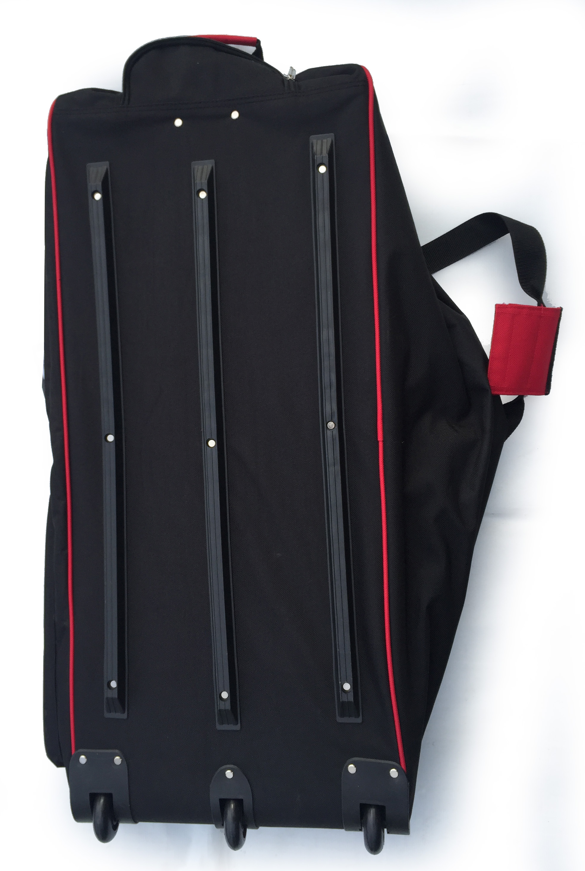 big red bag from under with 3 wheels and 3 protective rails all along