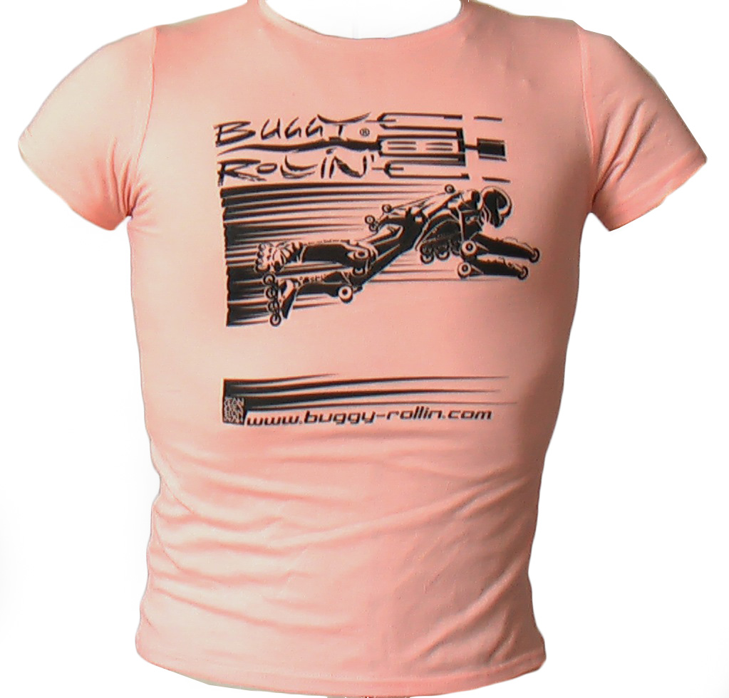 peach pink T-Shirt printed with buggy rollin flying pilot