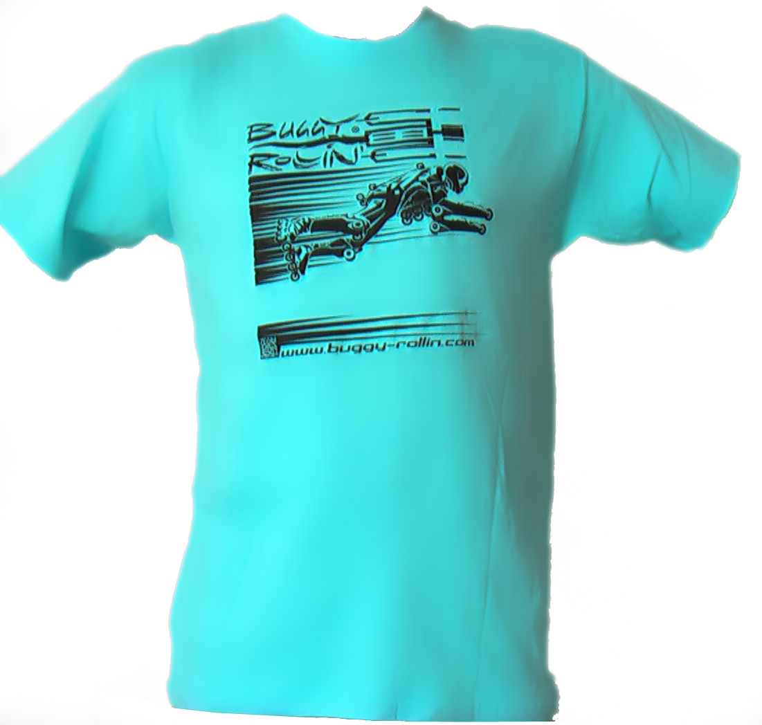 turquoise blue T-Shirt printed with buggy rollin flying pilot