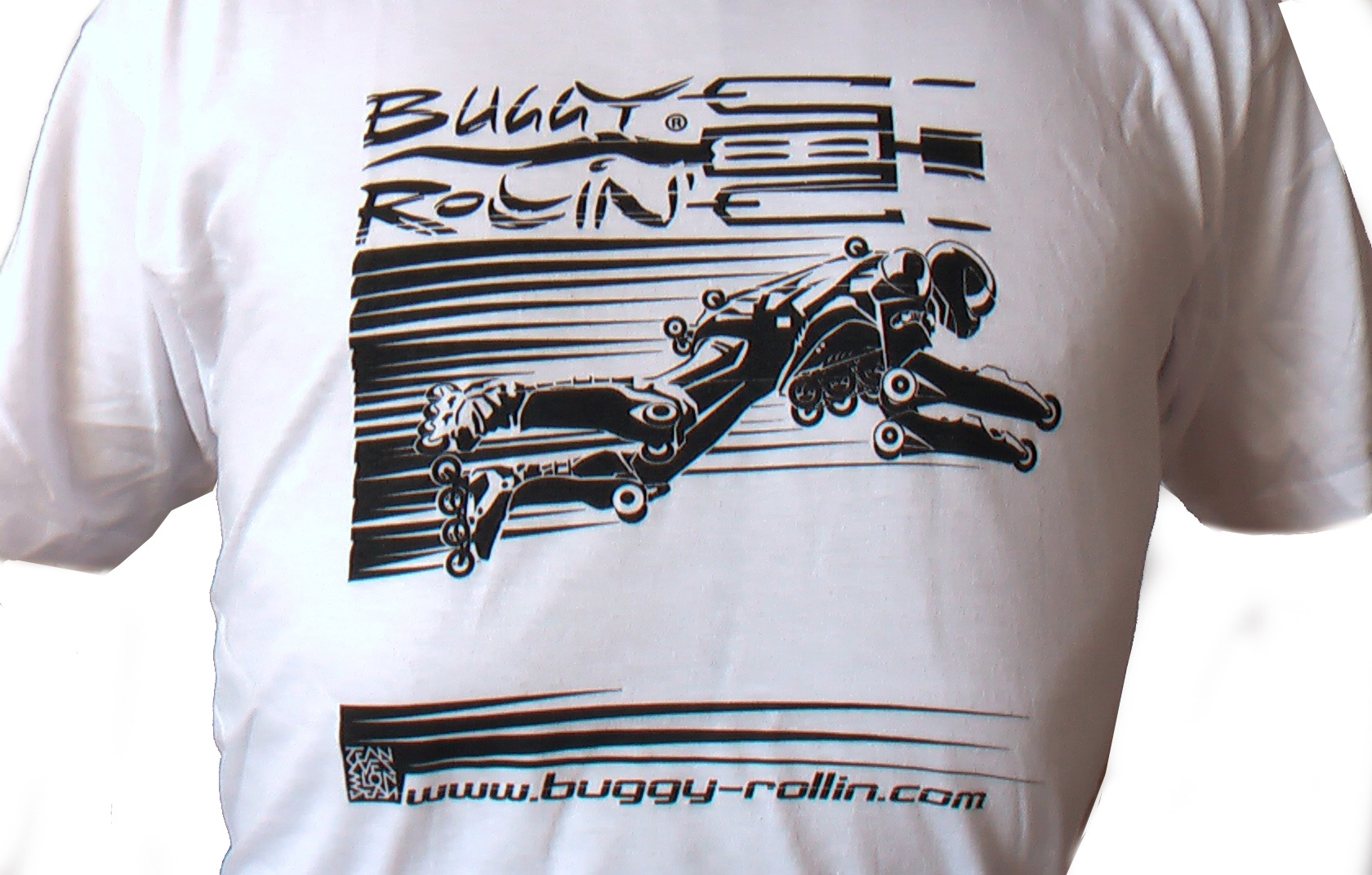 detail of graphic design of a Buggy Rollin pilot flying of cotton white T-Shirt
