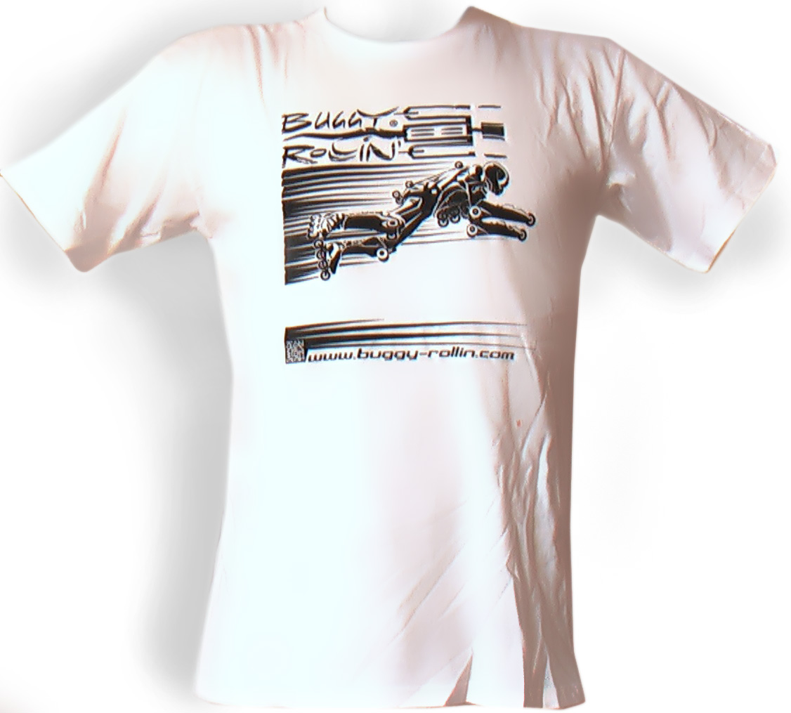 cotton white T-Shirt printed with flying buggy rollin pilot