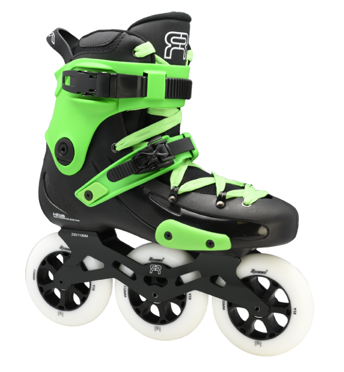 custom black green skate fr1 with 3 110 mm wheels 3D frames
