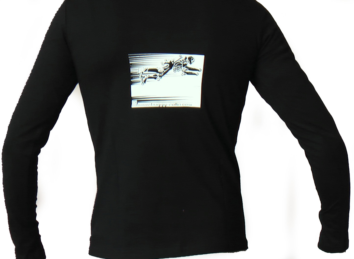 black long sleeve T-shirt view from back with at it center the drawing of buggy rollin pilot flying on a long jump