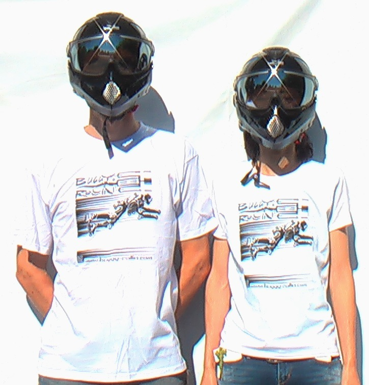 two person wearing white Buggy Rollin T-shirt with black full face helmet