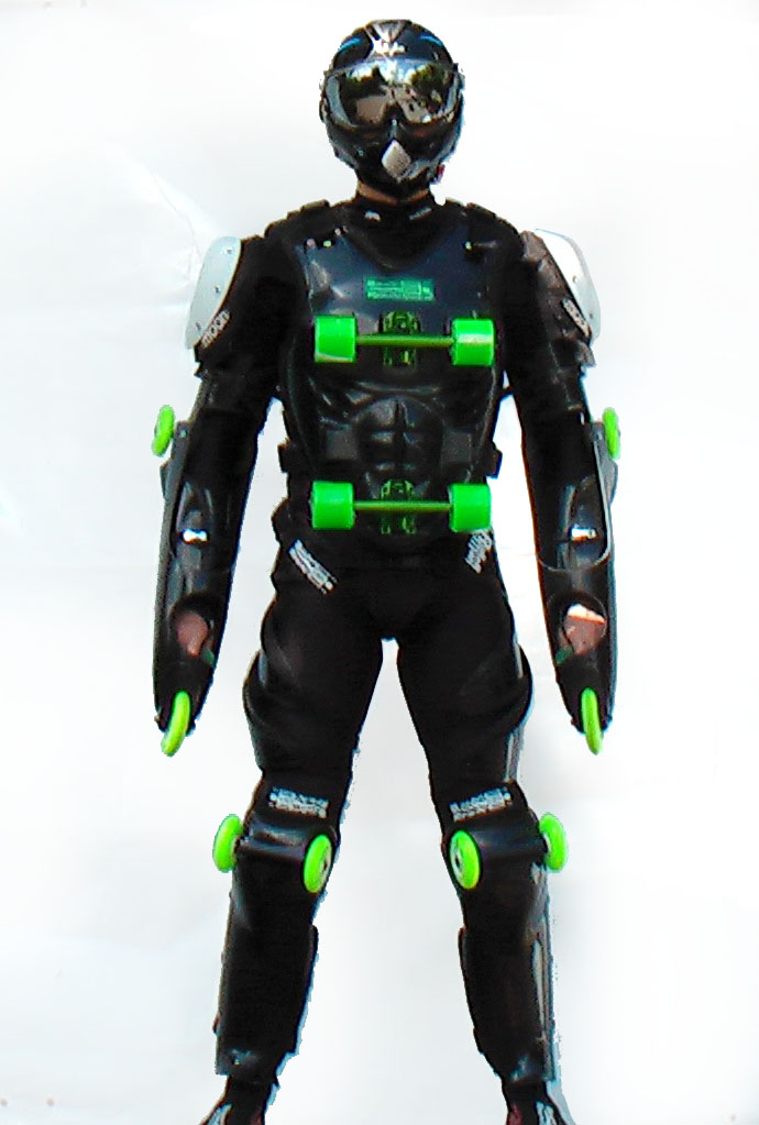 Black-green buggy rollin suit worn by pilot standing frontward with black buggy rollin special helmet