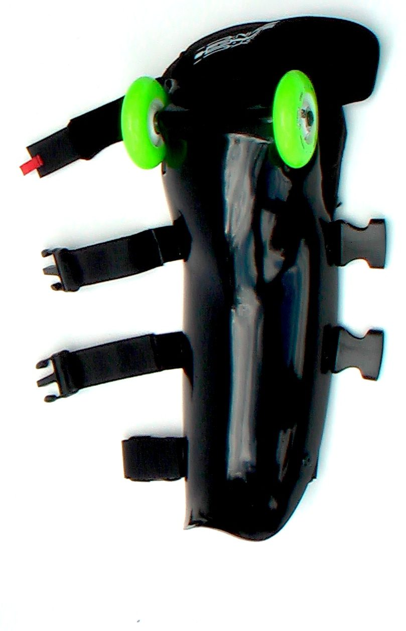 black buggy rollin leg with green wheels