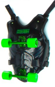 black buggy rollin chest with green wheels and green trucks