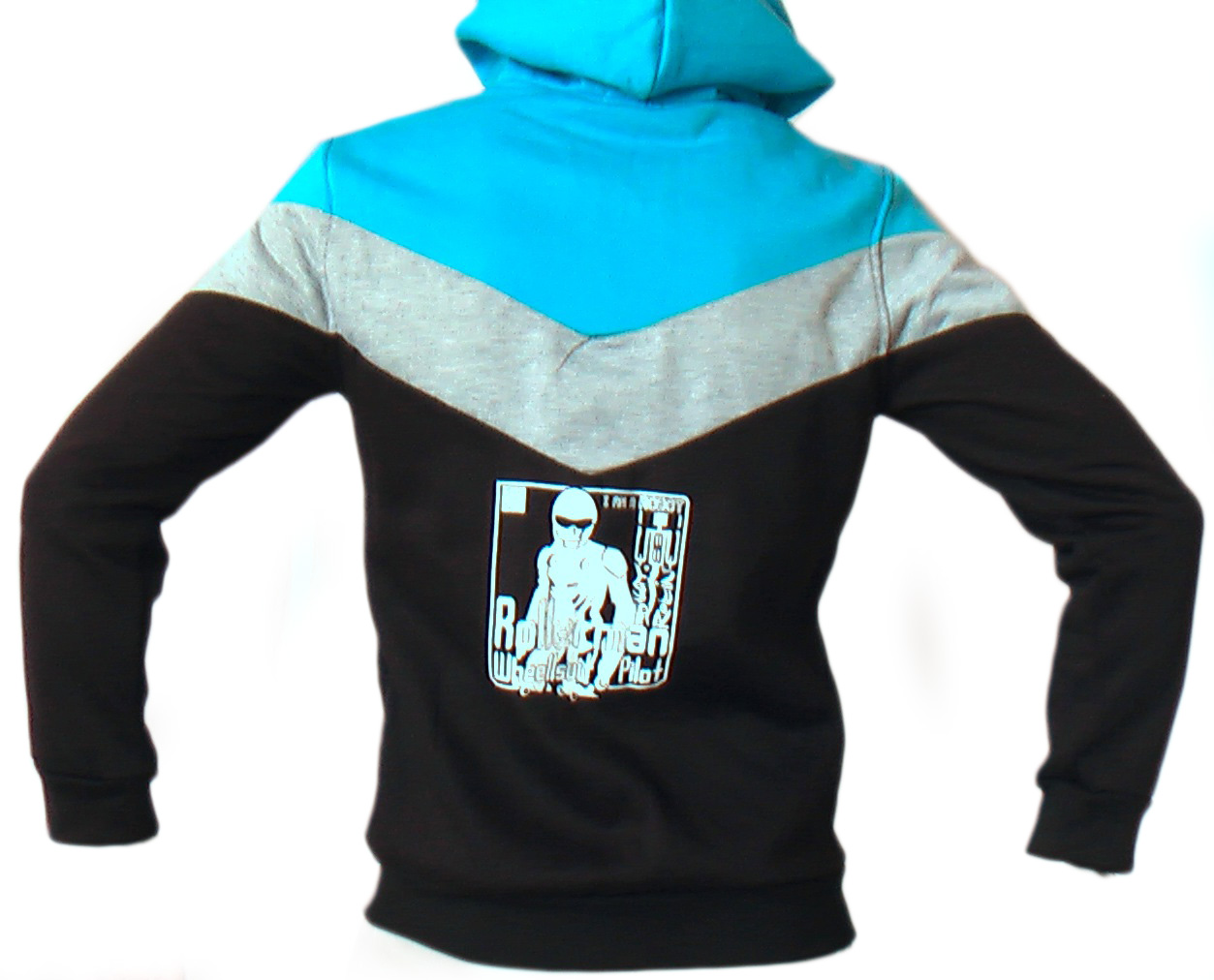 back side of Buggy Rollin Team Hoodie with rollerman wheel suit pilot printed and designed by Jean Yves Blondeau