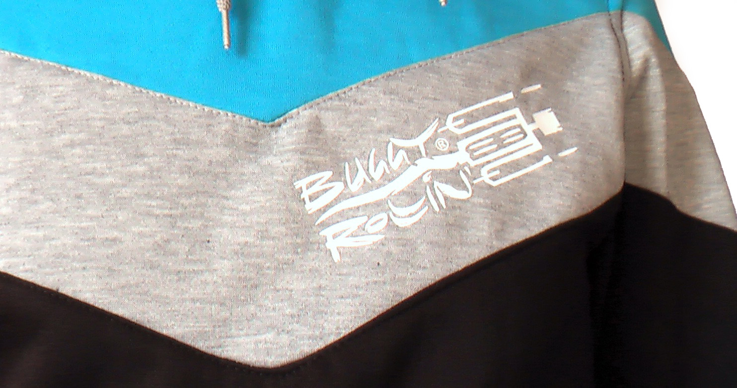 detail of heart placed logo of buggy rollin designed by Jean yves blondeau on Buggy Rollin Team Hoodie