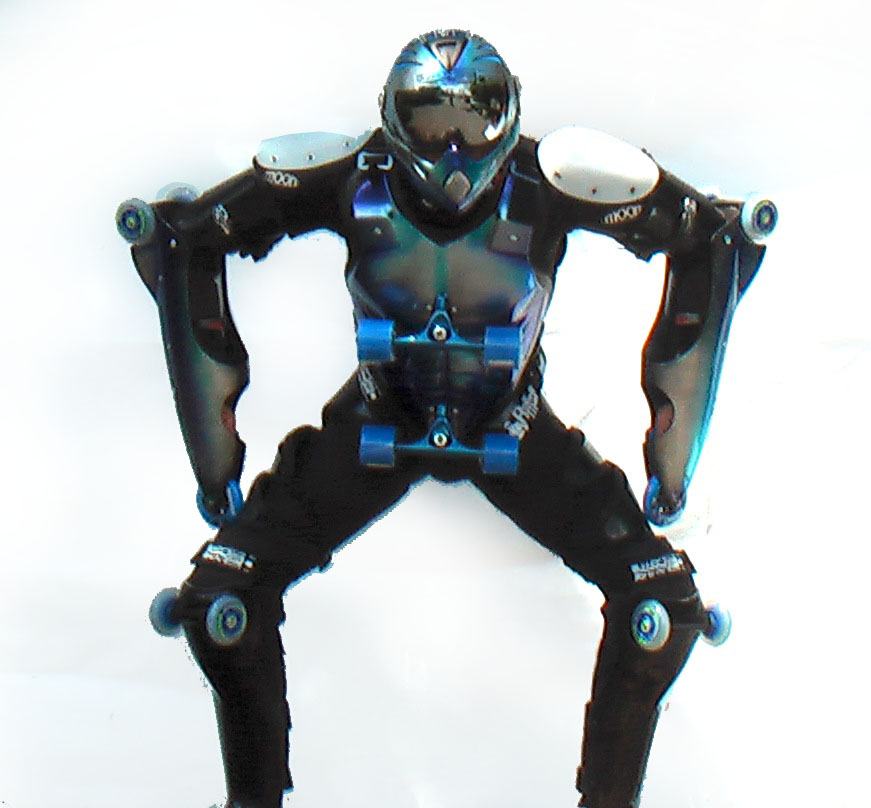 silver-blue pilot standing like a sumo