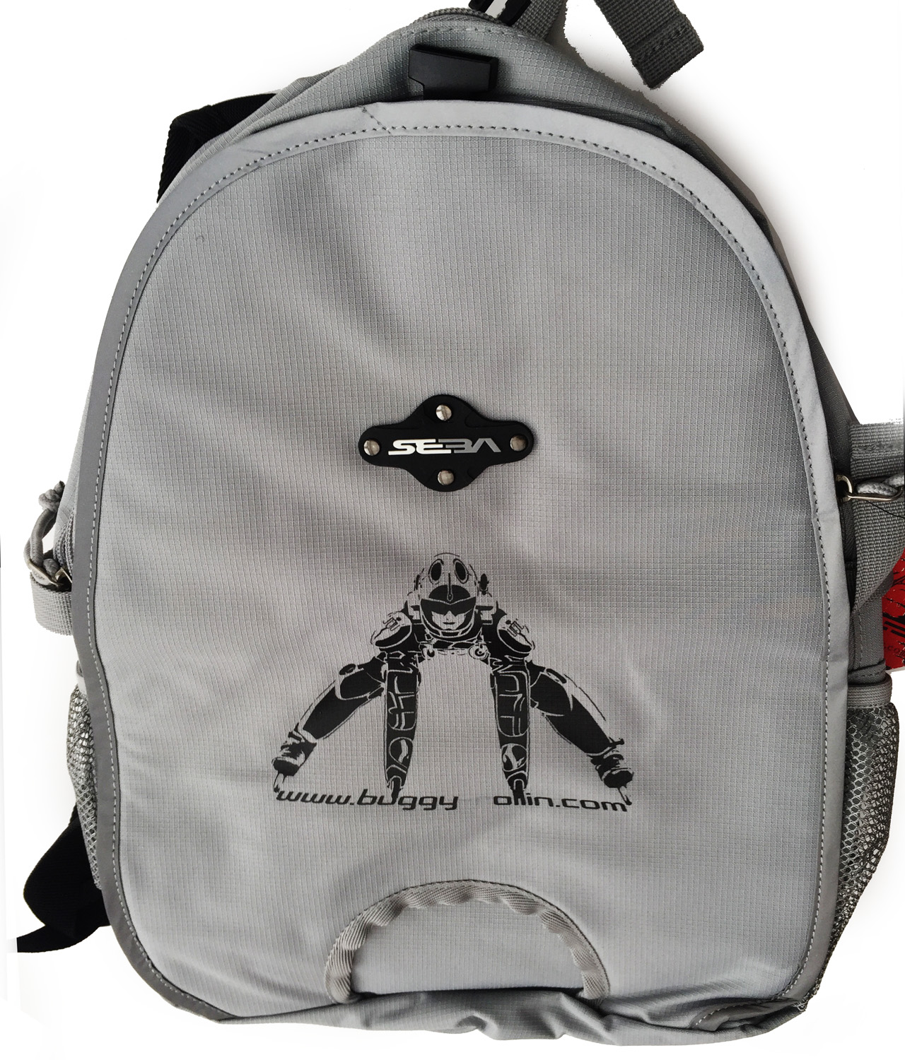 grey seba skate bag from front with buggy rollin zaphial mistake printing graphics by jean yves blondeau